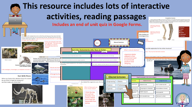 Interactive Slides and Reading Passages for Comparative Anatomy