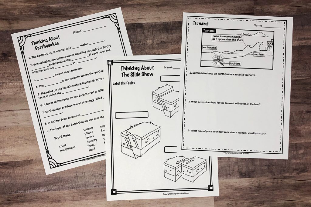 Earthquake worksheets for Elementary