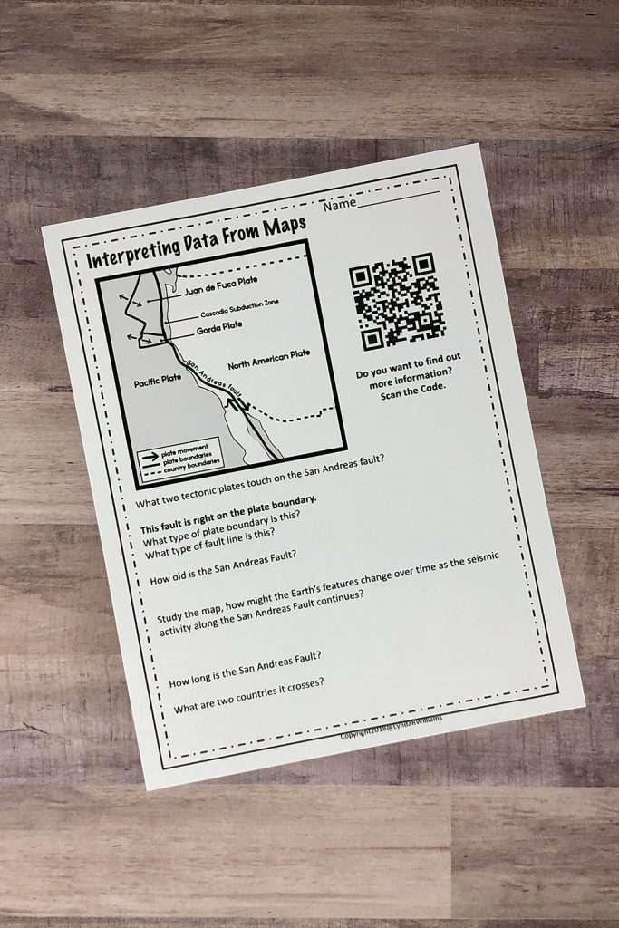 Earthquake worksheet