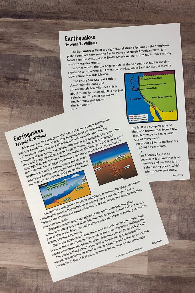 informational text passages on earthquakes