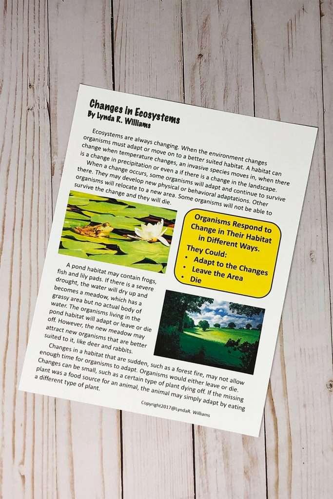 reading passage on ecosystems