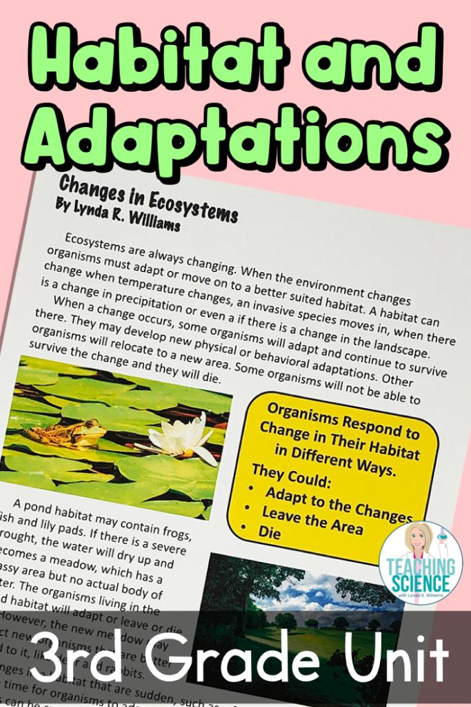 habitat and adaptations unit for third grade